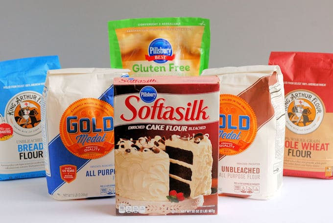a photos of different types of flour