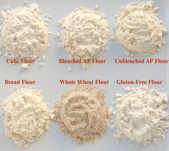 Piles of 6 different types of flour arranged on a white surface. Text overlay labels each flour.