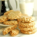 a plate of oatmeal cookies with maple glaze