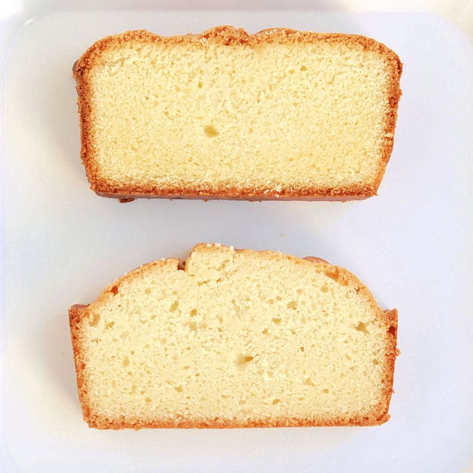 Pound cake made with gluten free flour