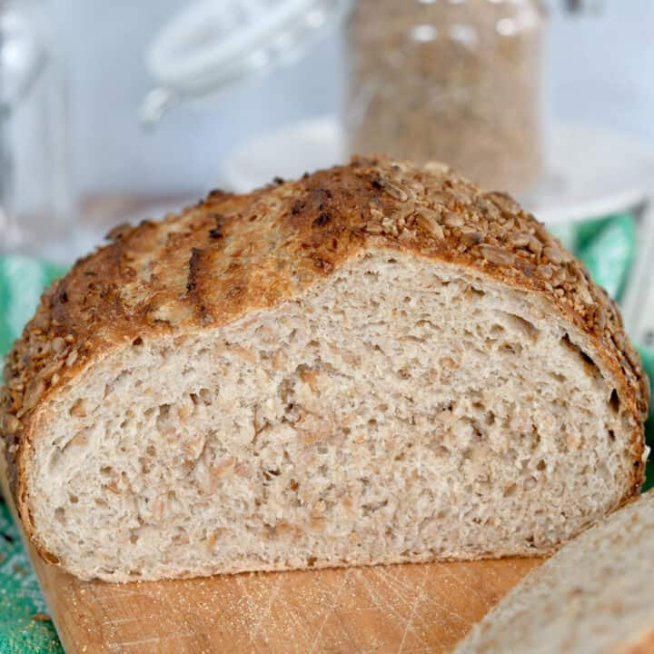 a loaf of cracked wheat bread