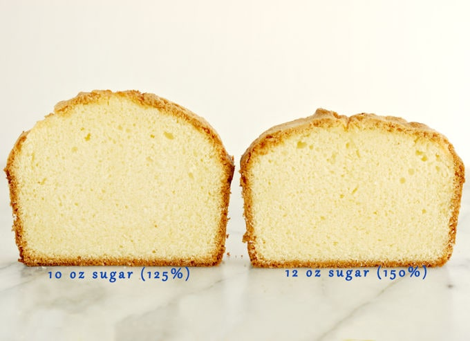 Two slices of pound cake standing on a marble slab. One cake is taller than the other.
