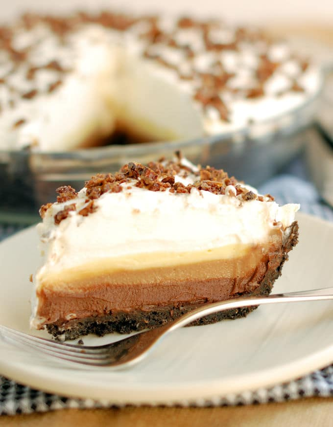 a slice of triple chocolate cream pie on a plate