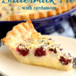 an image of blackberry buttermilk pie for pinterest with text overlay