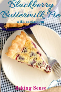 an image of buttermilk pie for pinterest with text overlay