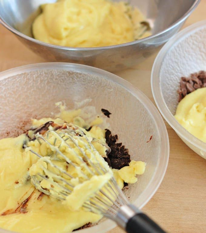 mixing dark chocolate pastry cream