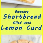 a pinterest image for lemon curd shortbrread