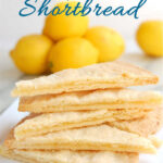 a pinterest image for lemon curd shortbread recipe