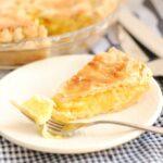 Meyer lemon shaker pie slice