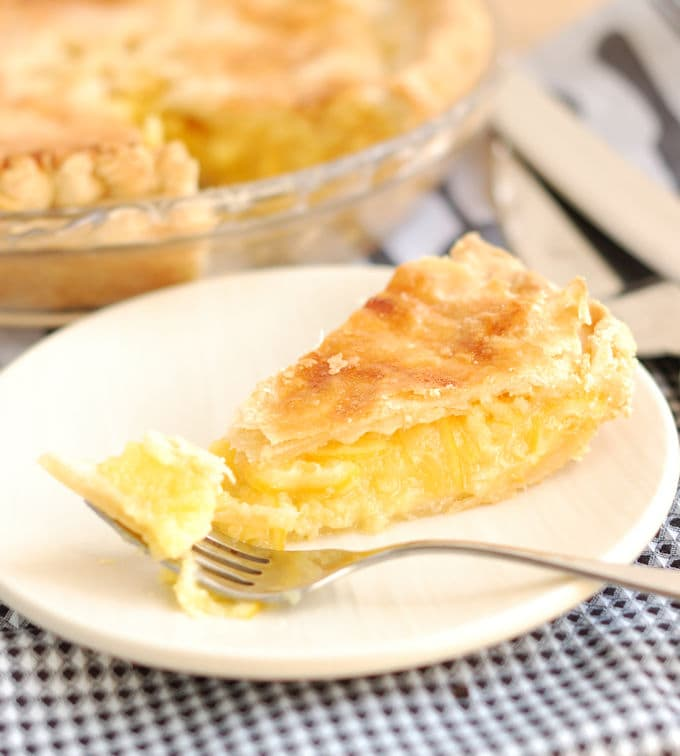 Meyer lemon shaker pie slice