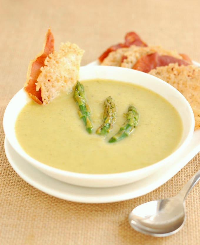 a bowl of asparagus soup without cream