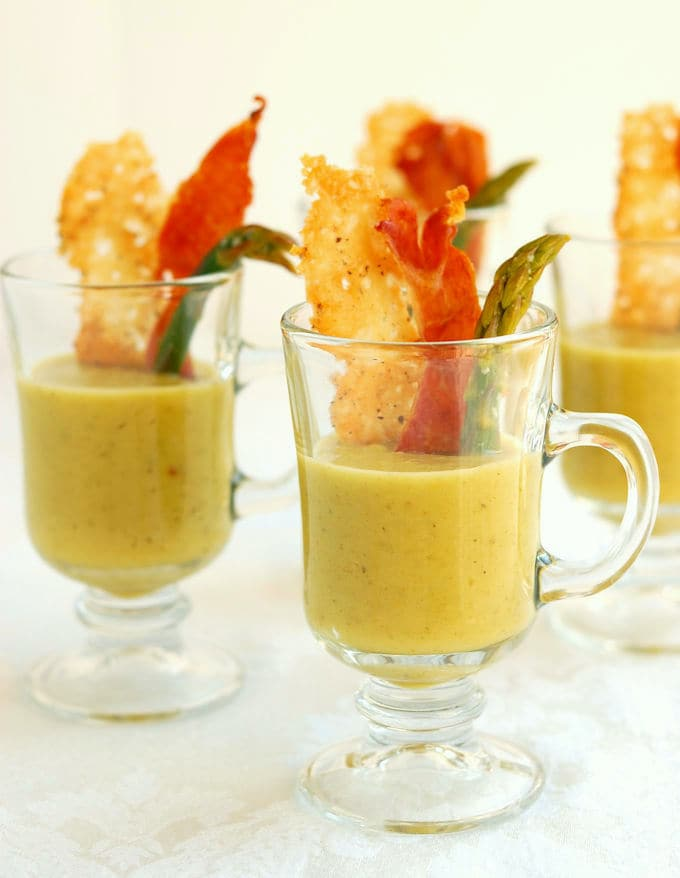 glasses with asparagus soup