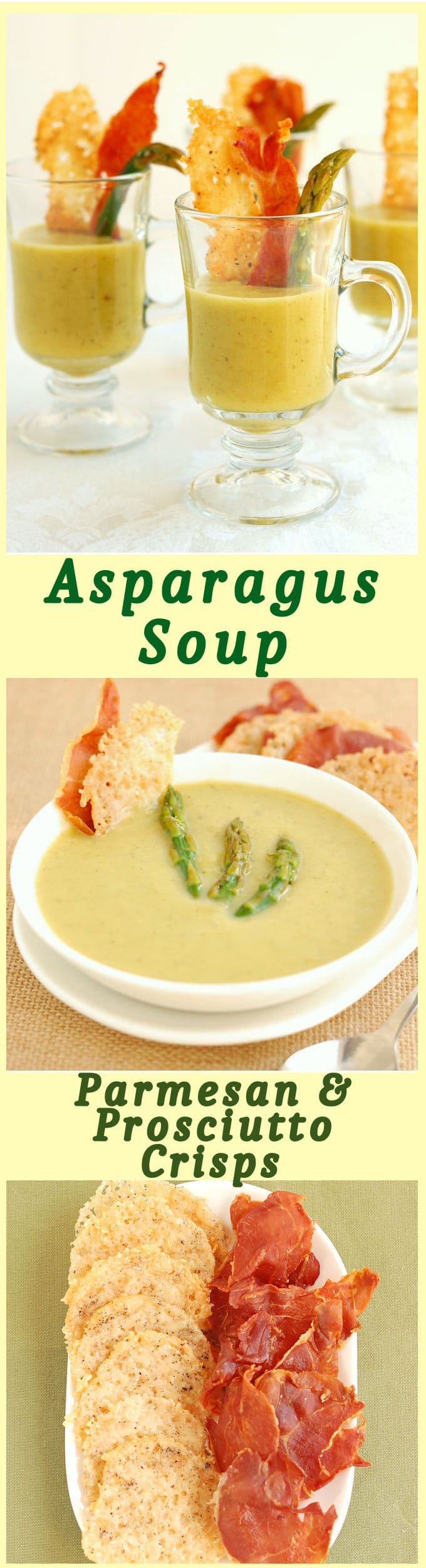 Asparagus Soup looks and tastes like a bowlful of Springtime. No cream. Make it vegan with vegetable stock