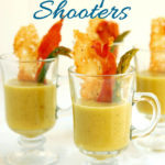 a pinterest image of asparagus soup shoots with text overlay