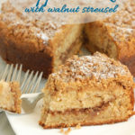a pinterest image for banana coffee cake with walnut streusel with text overlay