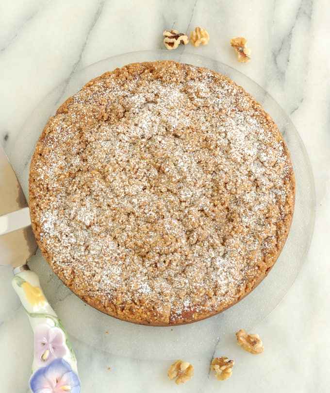 a top view of a banana coffeecake sprinkled with sugar