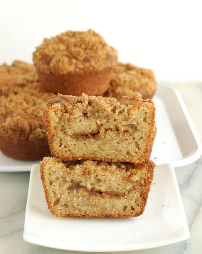 a stack of banana coffeecake muffins