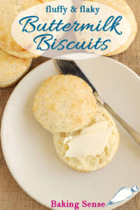 a pinterest image for a buttermilk biscuit recipe