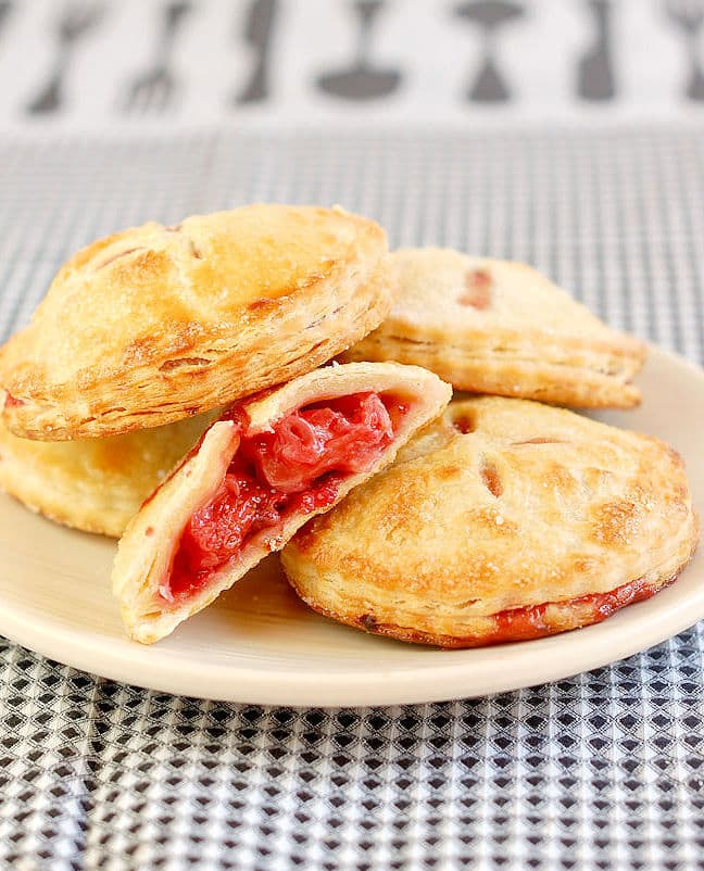strawberry hand pies on a plate
