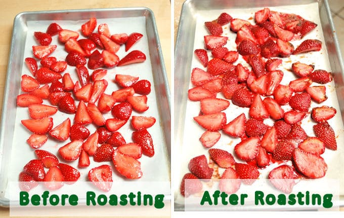 two trays of roasted strawberries