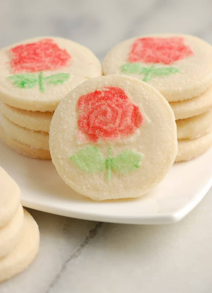 rose shortbread cookies on a plate