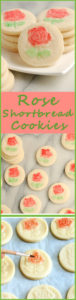 a pinterest image for rose shortbread cookies with text overlay