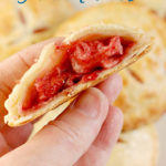 a strawberry hand pie image for pinterest with text overlay