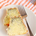 two slices of triple citrus poppy seed cake