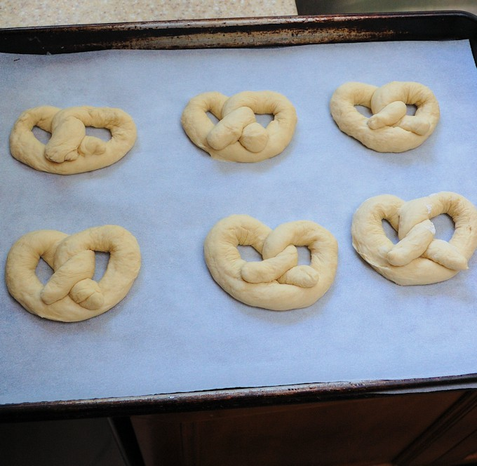 a tray of soft pretzels ready to rise