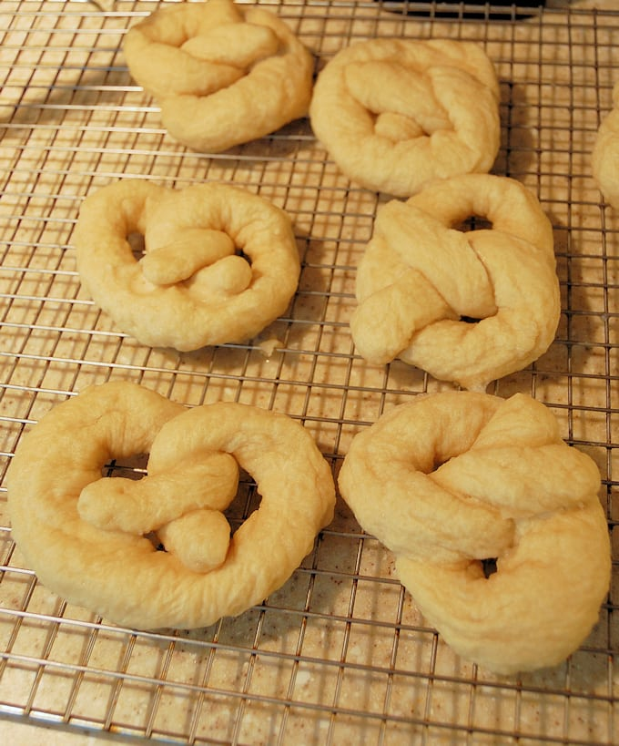 soft pretzels after boiling and before baking