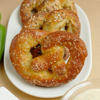 Beer Infused Bavarian Soft Pretzels with Jalapeno Cheddar Dip