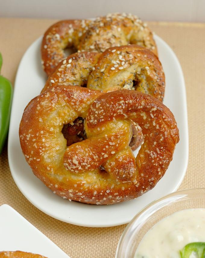 beer infused bavarian pretzels on a plate