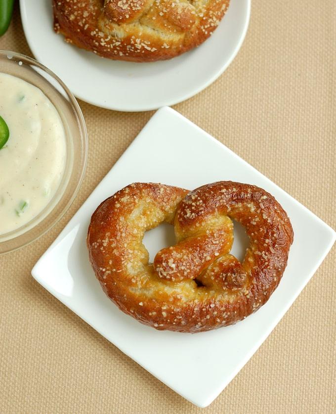 beer infused bavarian pretzel on a plate
