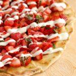 a closeup of grilled dessert pizza