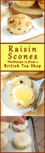 a pinterest image showing a raisin scone with lemon curd and a text overlay