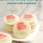 a pinterest image for rosewater shortbread cookies with text overlay