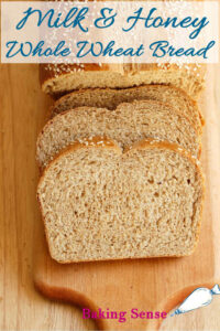 a pinterest image for milk and honey whole wheat bread