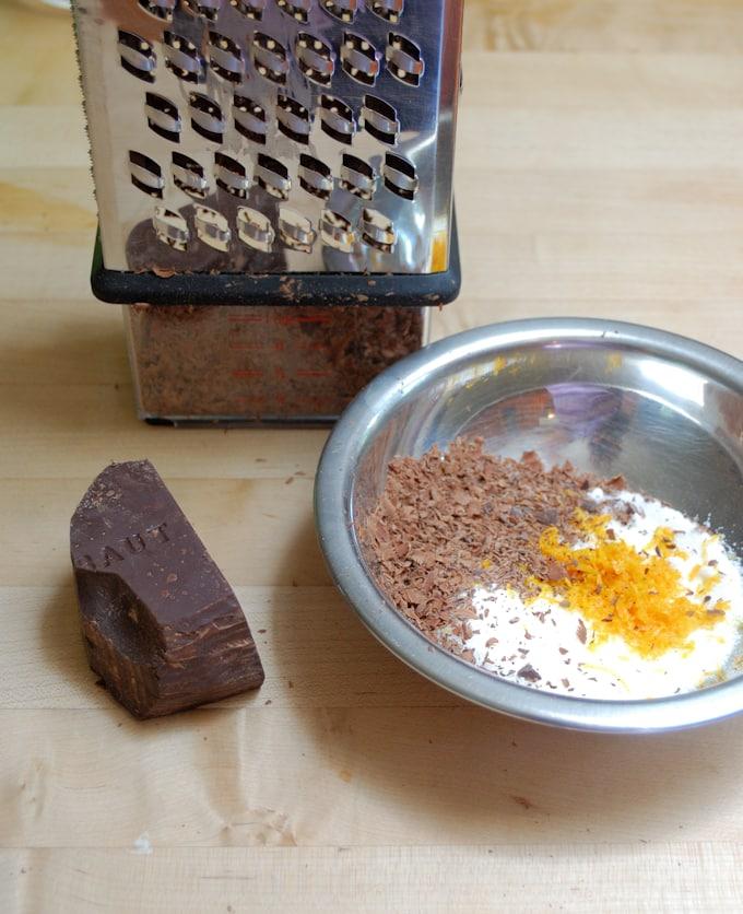 ingredients for chocolate orange dipping sugar