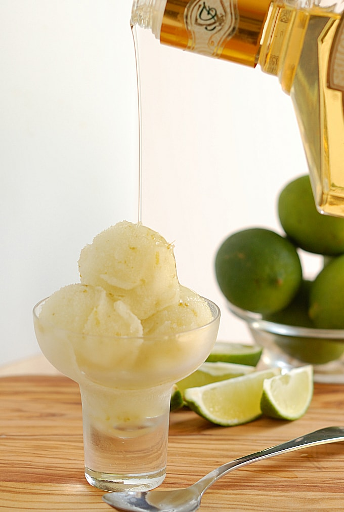 caipirinha sorbet with cachaça poured over