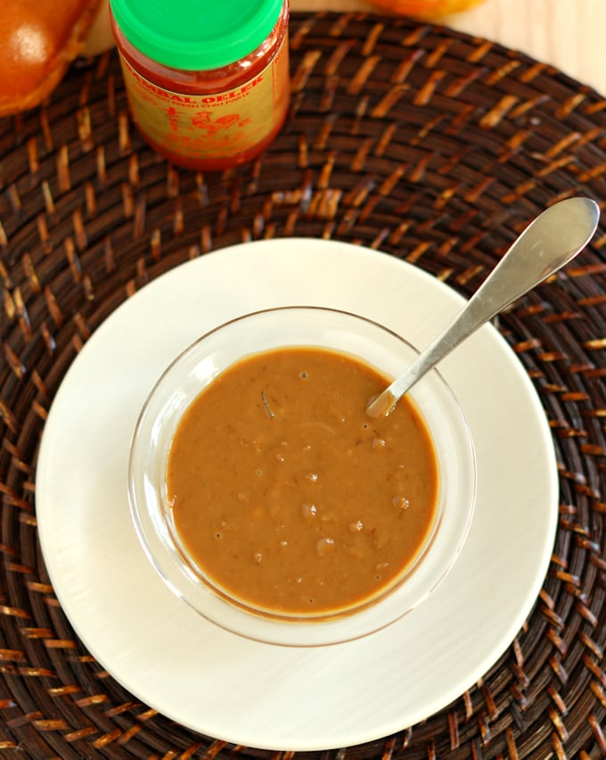 a bowl of peanut sauce