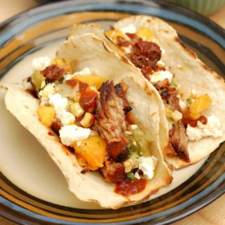 Pulled Pork Tacos with Grilled Peach Salsa #SundaySupper
