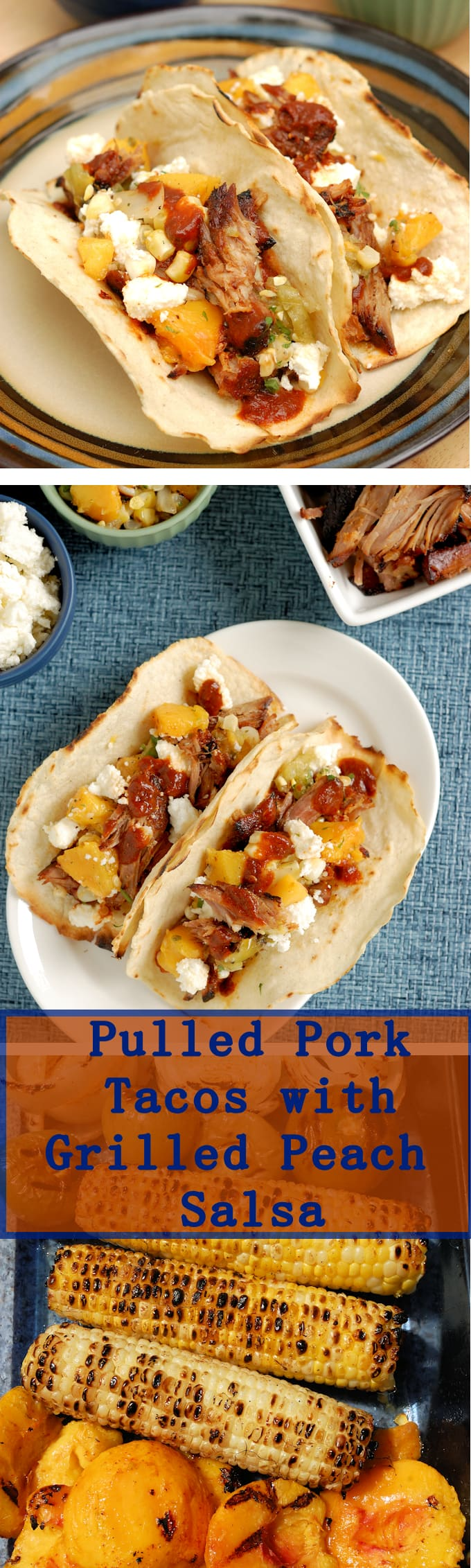 Pulled Pork Tacos with Grilled Peach Salsa is a perfect summer #SundaySupper. Easy to make and so delicious.