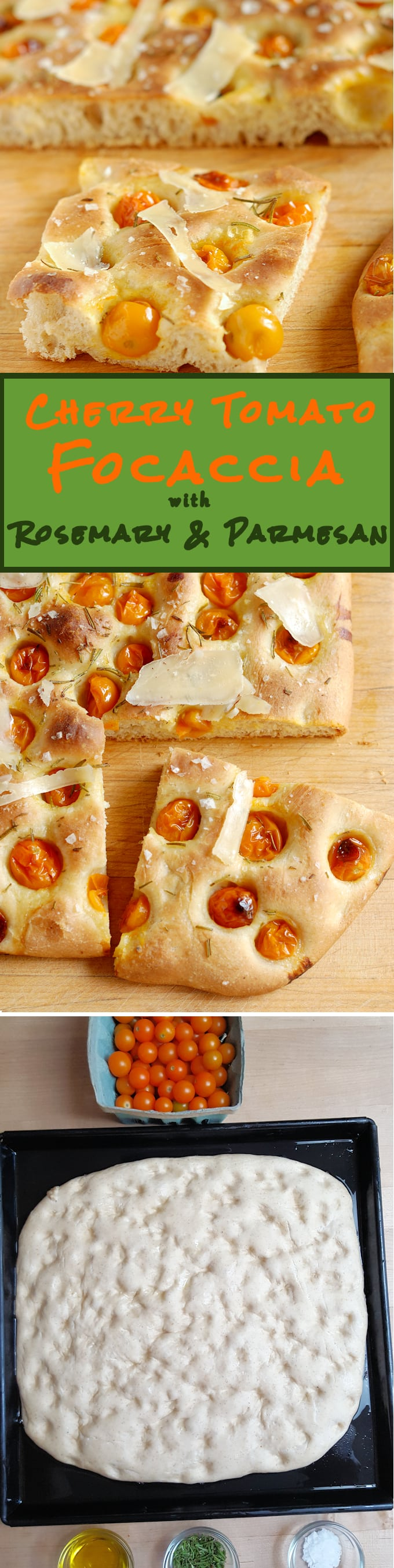 Bursts of sweet cherry tomato with fragrant rosemary on a light and chewy crust - Cherry Tomato Focaccia with Rosemary & Parmesan is a great snack, or have it for lunch, or serve it with salad for a light dinner.