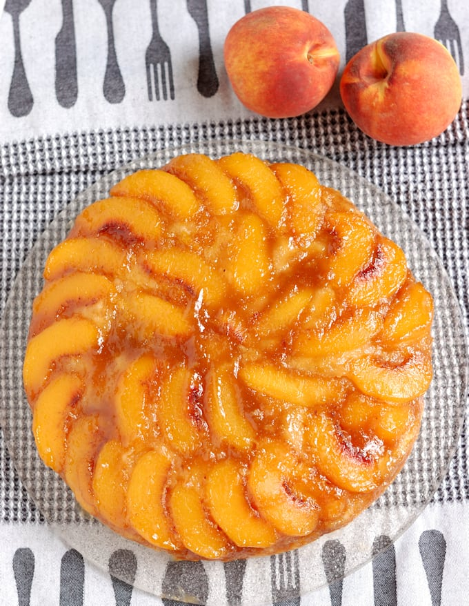 a top view of a peach upside down cake