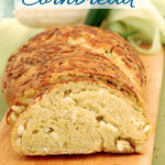sourdough cornbread image for pinterest with text overlay