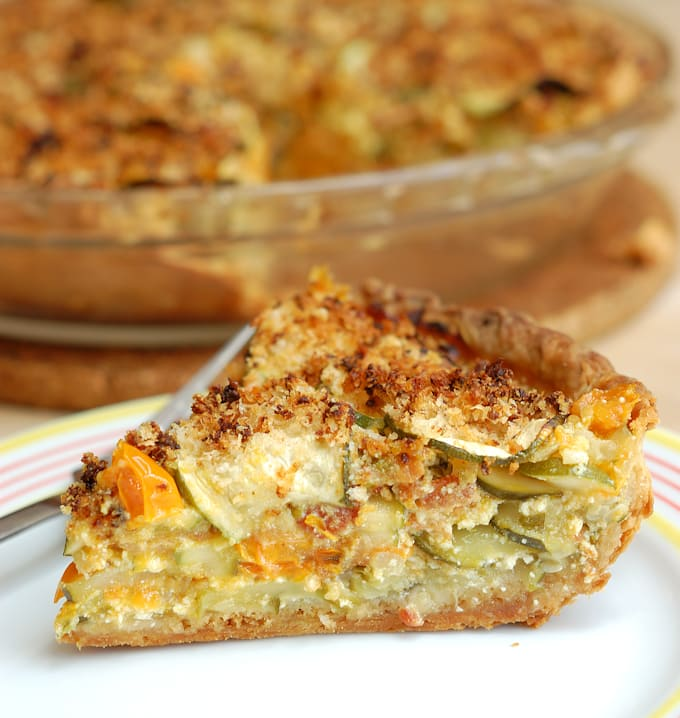 a slice of zucchini pie