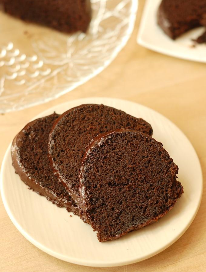 three silces of chocolate beet cake