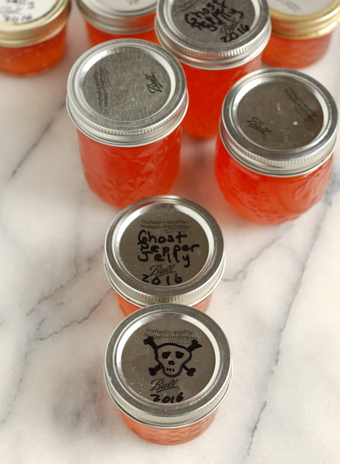 jars of homemade ghost pepper jelly