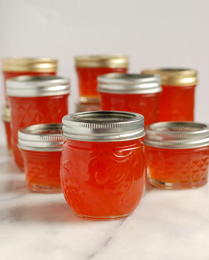 jars of ghost pepper jelly