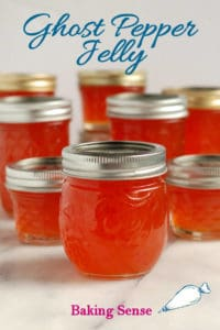 ghost pepper jelly pinterest image with text overlay